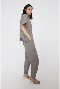 Grey Nylon Cargo Trousers