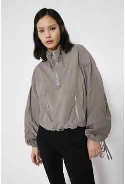 Grey Nylon Zip Front Pullover Jacket
