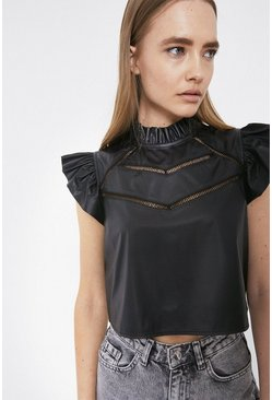 Black Faux Leather Top With Ladder Stitch