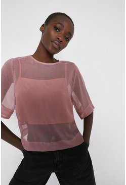 Pink Sheer Top With Contrast Lining