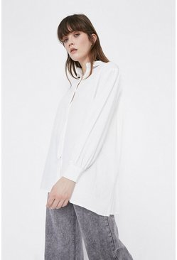 White Cotton Shirt With Pleat Back