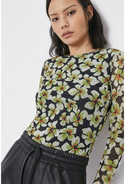 Multi Printed Crew Neck Mesh Top