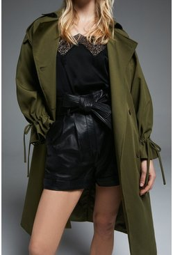 Khaki Trench Coat With Gathered Cuff Detail