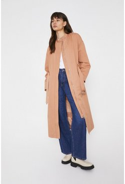Rose Collarless Belted Cotton Trench