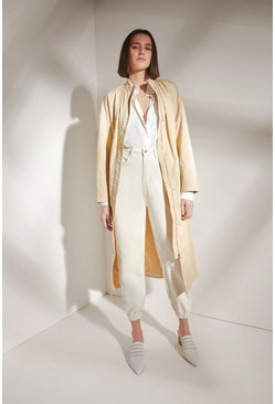 Stone Collarless Belted Cotton Trench