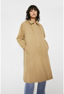 Stone Hooded Trapeze Mac Coat