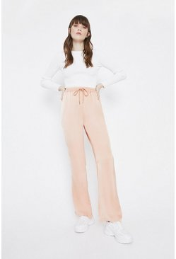 Peach Wide Leg Trouser In Satin