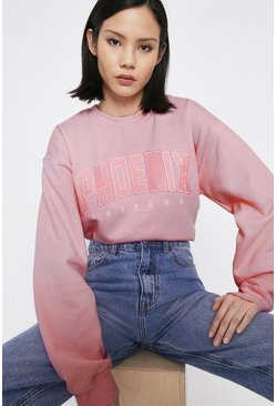 Pink Phoenix Applique Slogan Sweat