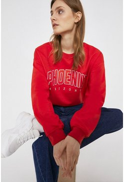 Red Phoenix Applique Slogan Sweat