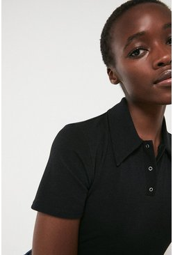 Black Popper Front Polo Top