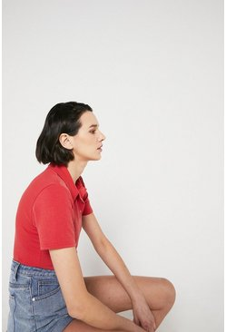 Red Popper Front Polo Top
