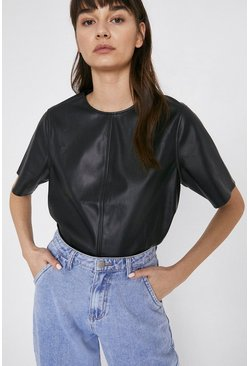 Black Faux Leather Basic Tee