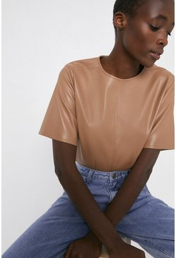 Camel Faux Leather Basic Tee