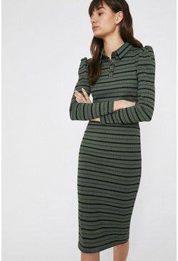 Khaki Stripe Rib Collared Dress