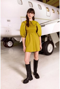 Chartreuse Mini Dress With Shirred Bust And Collar