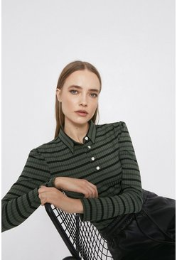 Khaki Stripe Rib Collared Top