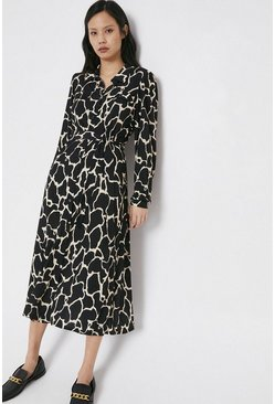 Blackwhite Printed Button Through Shirt Dress