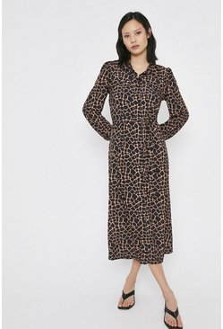 Tan Printed Button Through Shirt Dress