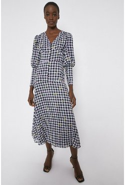 Mono Dress In Gingham With Floral