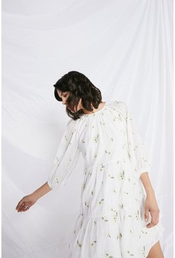 White Swing Dress With Floral Embroidery