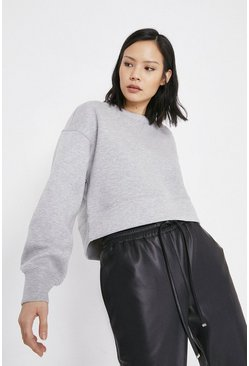 Grey Neoprene Effect Seamed Sweat
