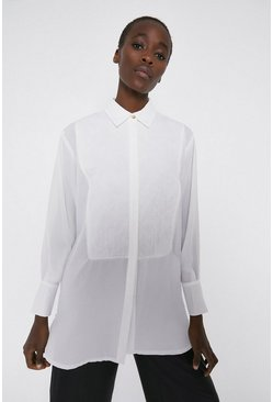 White Chiffon Shirt With Cotton Bib