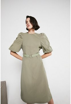 Khaki Midi Puff Sleeve Dress In Cotton Poplin