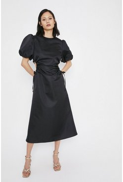 Black Satin Dress With Cut Outs