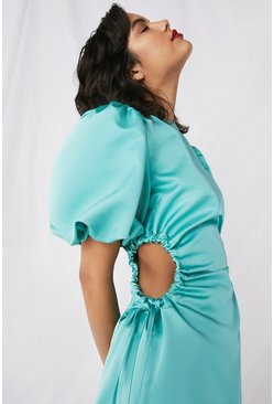 Green Satin Dress With Cut Outs