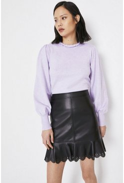 Black Faux Leather Laser Cut Pelmet Skirt