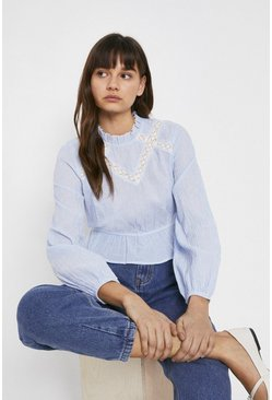 Light blue Lace Insert Stripe Top