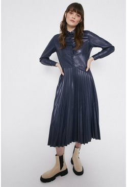 Navy Faux Leather Pleated Shirt Dress