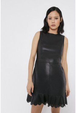 Black Faux Leather Laser Cut Frill Hem Dress