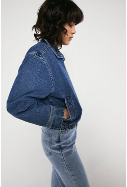 Mid wash Denim Bomber Jacket
