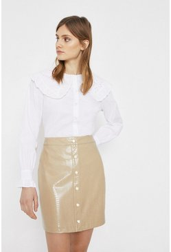 Stone Faux Leather Croc Pelmet Skirt With Poppers