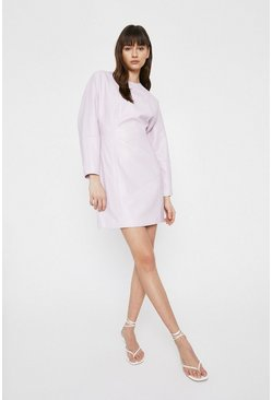 Lilac Faux Leather Batwing Sleeve Mini Dress