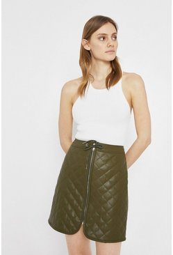 Khaki Faux Leather Quilted Zip Front Sporty Pelmet