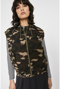 Multi Camo Sleeveless Bomber Jacket