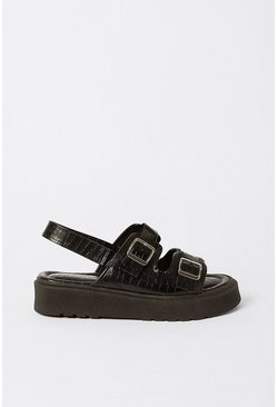 Black Croc Buckle Detail Chunky Sandal