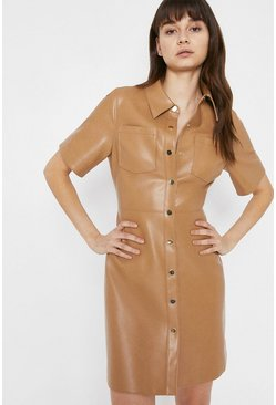Tan Faux Leather Short Sleeve Shirt Dress