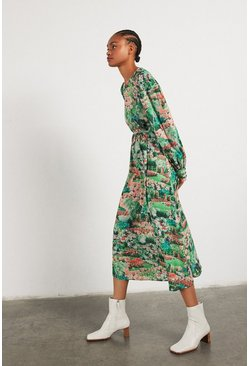 Green Midi Dress In Garden Floral Print