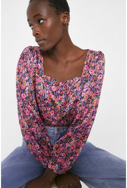Multi Square Neck Top In Colourful Floral
