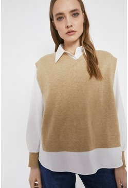 Camel Shirt And Knitted Vest Hybrid