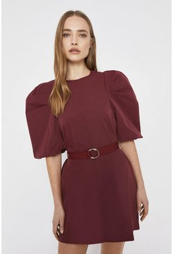 Wine Mini Dress In Cotton Poplin With Puff Sleeve