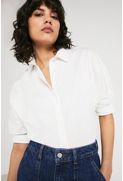 White Cotton Shirt With Short Sleeve