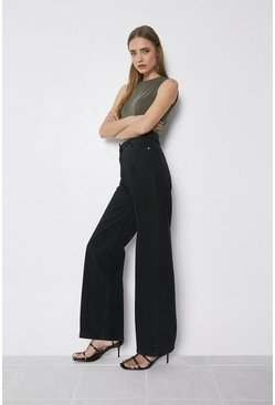 Black Organic Cotton Wide Leg Full Length Jean