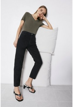 Black Organic Cotton Authentic Mom Jeans