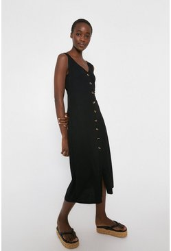 Black Pique Button Through Midi Dress