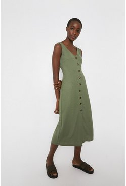 Khaki Pique Button Through Midi Dress