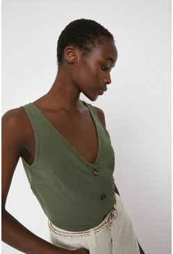 Khaki Pique V Neck Button Vest